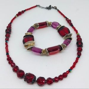 Red and purple glass necklace and bracelet bundle